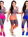 Women\'s Yoga Suit Orange Fuchsia Blue Sports Color Gradient Clothing Suit Zumba Running Fitness Sleeveless Plus Size Activewear Breathable Anatomic Design Sweat-wicking Stretchy