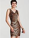 Dámské Vypasovaný Bodycon Šaty - Leopard, Základní Midi Do V