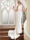 Funda / Columna Halter Corte Raso / Saten Vestidos de novia hechos a medida con por LAN TING BRIDE® / Espalda Abierta / Estilo real