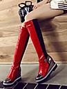 여성용 구두 PU 가을 겨울 패션 부츠 부츠 쐐기 뒤꿈치 둥근 발가락 무릎 높이 부츠 일상 / 사무실 및 경력 용 버클 블랙 / 다크 그레이 / 레드