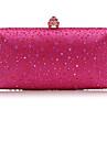 Γυναικεία Τσάντες Σατέν Βραδινή τσάντα Κρυστάλλινη λεπτομέρεια Ανθισμένο Ροζ / Φούξια / Ασημί