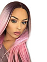 Synthetische Peruecken Glatt Grau Mittelteil Rosa Synthetische Haare Damen Hitze Resistent / Gefaerbte Haarspitzen (Ombré Hair) Grau Peruecke Lang Kappenlos / ja