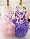 Chiens Chats Robe Vetements pour Chien Fleur Dentelle Violet Rose Melange Poly / Coton Costume Pour Printemps Ete Femme Robes et Jupes A Fleurs