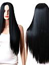 Synthetische Peruecken Glatt Schwarz Mittelteil Natuerlich Schwarz Synthetische Haare Damen Verstellbar / Hitze Resistent / Synthetik Schwarz Peruecke Lang Kappenlos / ja