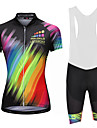 Malciklo Women\'s Cycling Jersey with Bib Shorts - White / Black Rainbow Plus Size Bike Bib Shorts Jersey Quick Dry Anatomic Design Reflective Strips Sports Lycra Rainbow Mountain Bike MTB Road Bike