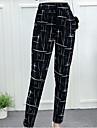 Pentru femei Exagerat Mărime Plus Size Bumbac Harem Pantaloni - Franjuri, Mată Alb negru