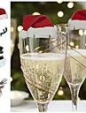 عيد الميلاد الزجاج علامة العلم قبعة عيد الميلاد مسواك العلم الغذاء الديكور عيد الميلاد الحلي