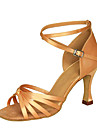 בגדי ריקוד נשים נעליים לטיניות סטן סנדלים / עקבים עקב רחב מותאם אישית נעלי ריקוד שחור / חום / עירום