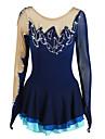 Robe de Patinage Artistique Femme Fille Patinage Robes Bleu de minuit Ourlet Asymetrique Spandex Elasthanne Haute elasticite Competition Tenue de Patinage Fait a la main Strass Manches Longues