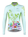 SPAKCT Women\'s Long Sleeve Cycling Jersey - Green Floral / Botanical Bike Jersey Top Breathable Quick Dry Sports Elastane Polyster Mountain Bike MTB Road Bike Cycling Clothing Apparel / Advanced