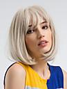 人工毛ウィッグ ストレート Kardashian スタイル ボブスタイル・ヘアカット キャップレス かつら 白 ホワイト 合成 12 インチ 女性用 ナチュラルヘアライン 白 かつら ミドル丈 MAYSU