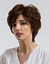 人間の毛のキャップレスウィッグ 人毛 カール ピクシーカット ナチュラルヘアライン ダークブラウン キャップレス かつら 女性用 デイリーウェア