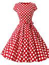 Pentru femei Mărime Plus Size Vintage Bumbac Linie A Rochie - Imprimeu, Buline Midi