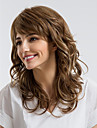 Ihmisen hiukset Capless Peruukit Aidot hiukset Kihara Epäsymmetrinen leikkaus Luonnollinen hiusviiva Ruskea Suojuksettomat Peruukki Naisten Arki-asut