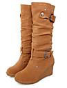 Mulheres Fashion Boots Camurca Outono & inverno Botas Salto Plataforma Ponta Redonda Botas Cano Alto Amarelo / Vermelho / Verde