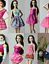 Casual / Diario Disfraces 8 pcs por Muneca Barbie  Poliester Faldas / Top / Vestido por Chica de muneca de juguete