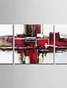 Hang-ζωγραφισμένα ελαιογραφία Ζωγραφισμένα στο χέρι - Αφηρημένο Μοντέρνα Περιλαμβάνει εσωτερικό πλαίσιο / Τρίπτυχα / Επενδυμένο καμβά