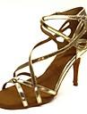 בגדי ריקוד נשים נעליים לטיניות סטן סנדלים / עקבים אבזם עקב רחב מותאם אישית נעלי ריקוד זהב