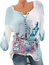 Mulheres Tamanhos Grandes Camisa Social Basico 3D Decote V Azul XXXL / Primavera / Verao