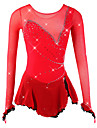Figure Skating Dress Women\'s Girls\' Ice Skating Dress Red Spandex Mesh High Elasticity Competition Skating Wear Breathable Handmade Novelty Fashion Dumb Light Long Sleeve Ice Skating Figure Skating