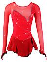 Figure Skating Dress Women\'s Girls\' Ice Skating Dress Red Spandex Mesh High Elasticity Competition Skating Wear Breathable Handmade Novelty Fashion Dumb Light Long Sleeve Ice Skating Figure Skating