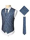 رجالي أزرق البحرية XL XXL XXXL Vest الأعمال التجارية / عتيق طباعة طباعة / بدون كم / عمل / نصف رسمي