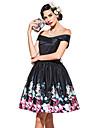 Audrey Hepburn La maravillosa senora maisel Floral Retro / Vintage Anos 60 De cintura de avispa Disfraz Mujer Vestidos Negro Cosecha Cosplay Poliester Sin Mangas Hombros Caidos Longitud Pequena