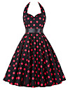 Audrey Hepburn Polka Dots Retro / Vintage 1950s Roaring 20s Costume Women\'s Dress Red Vintage Cosplay Sleeveless Knee Length
