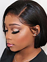 Human Hair Lace Front Wig Bob Short Bob Brazilian Hair Silky Straight Black Wig 130% Density with Baby Hair Natural Hairline For Black Women 100% Virgin 100% Hand Tied Black Women\'s Short Human Hair