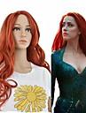 人工毛ウィッグ カール レッド ディープパーティー レッド 合成 24 インチ 女性用 合成 レッド かつら ロング キャップレス