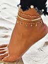 女性用 多層式 足首のブレスレット ゴールドメッキ トロピカル風 アンクレット ジュエリー ゴールド 用途 結婚式 婚約 ストリート ビキニ 祭り / 3本