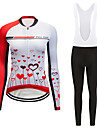 Women\'s Long Sleeve Cycling Jersey with Bib Tights White Black Cartoon Bike Clothing Suit Breathable Moisture Wicking Quick Dry Sports Polyester Cartoon Mountain Bike MTB Road Bike Cycling Clothing