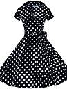 Audrey Hepburn Polka Dots Retro / Vintage 1950s Costume Women\'s Dress Black / Red / Brown Vintage Cosplay Half Sleeve Knee Length
