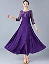 Ballroom Dance Dresses Women\'s Training / Performance Polyester Lace / Ruching 3/4 Length Sleeve High Dress