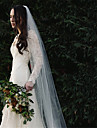 One-tier European Style Wedding Veil Cathedral Veils with Beading Cotton / nylon with a hint of stretch
