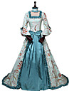 Princess Rococo Victorian 18th Century Costume Women\'s Dress Party Costume Costume Blue Vintage Cosplay Silk Masquerade Party & Evening 3/4-Length Sleeve Off Shoulder Floor Length Long Length Plus