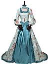 أميرة روكوكو فيكتوريا القرن ال 18 كوستيوم نسائي فساتين أزياء الحفلة كوستيوم أزرق عتيقة تأثيري حرير حفلة تنكرية الحفلات و المساء 3/4 طول الكم دون الكتف طول الأرض طويل قياس كبير