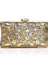 Γυναικεία Τσάντες Κράμα Βραδινή τσάντα Κρυστάλλινη λεπτομέρεια Συμπαγές Χρώμα Χρυσό / Ασημί / Ρουμπίνι
