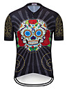 TELEYI Men\'s Short Sleeve Cycling Jersey Black Skull Floral Botanical Bike Jersey Top Breathable Quick Dry Sweat-wicking Sports Terylene Mountain Bike MTB Road Bike Cycling Clothing Apparel