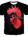 Miesten Pyöreä kaula-aukko Painettu Eläin T-paita Musta US42
