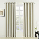 Rod Pocket Grommet Top Tab Top Double Pleat Two Panels Curtain Neoclassical , Embossed Solid Living Room 100% Polyester Polyester Material