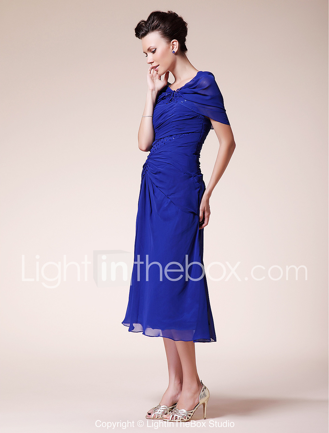 Sheath / Column Sweetheart Tea Length Chiffon Mother of the Bride ...