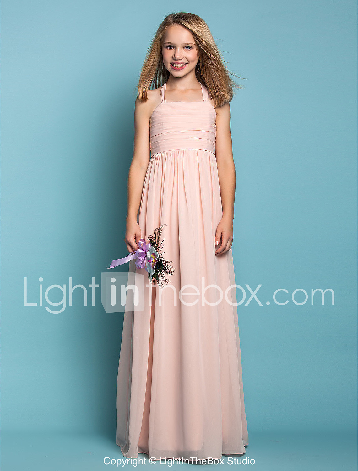 Sheath / Column Halter Floor Length Chiffon Junior Bridesmaid Dress ...