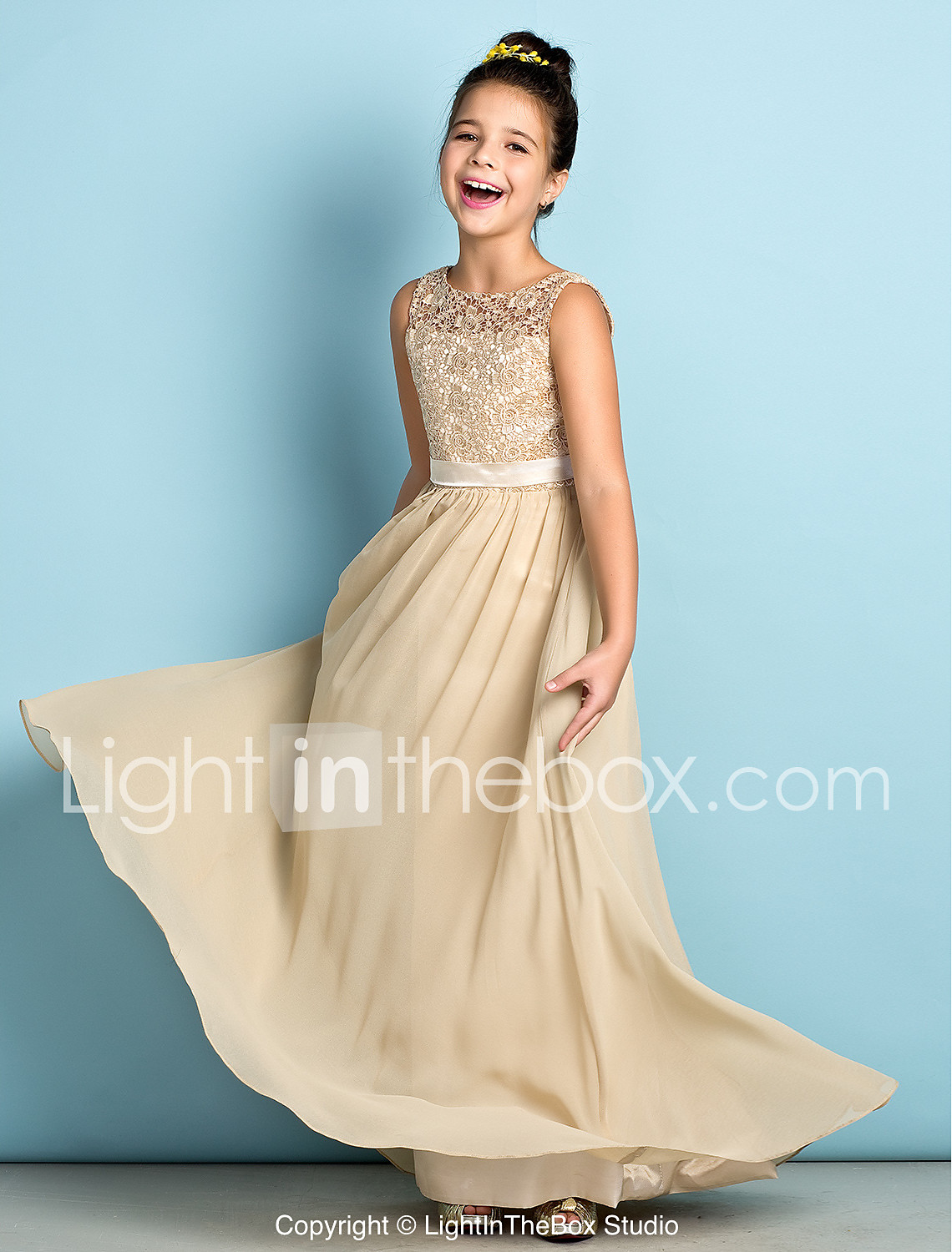 A-Line Scoop Neck Floor Length Chiffon / Lace Junior Bridesmaid ...