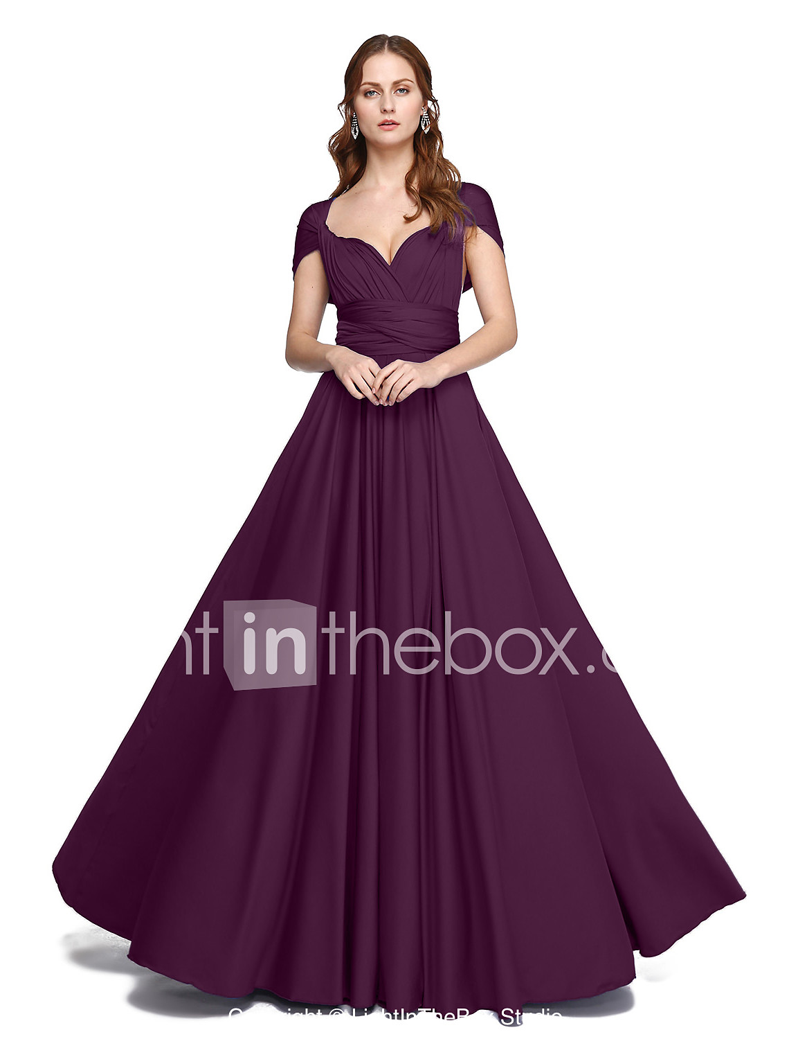 A-Line Floor Length Jersey Bridesmaid Dress with Criss Cross ...