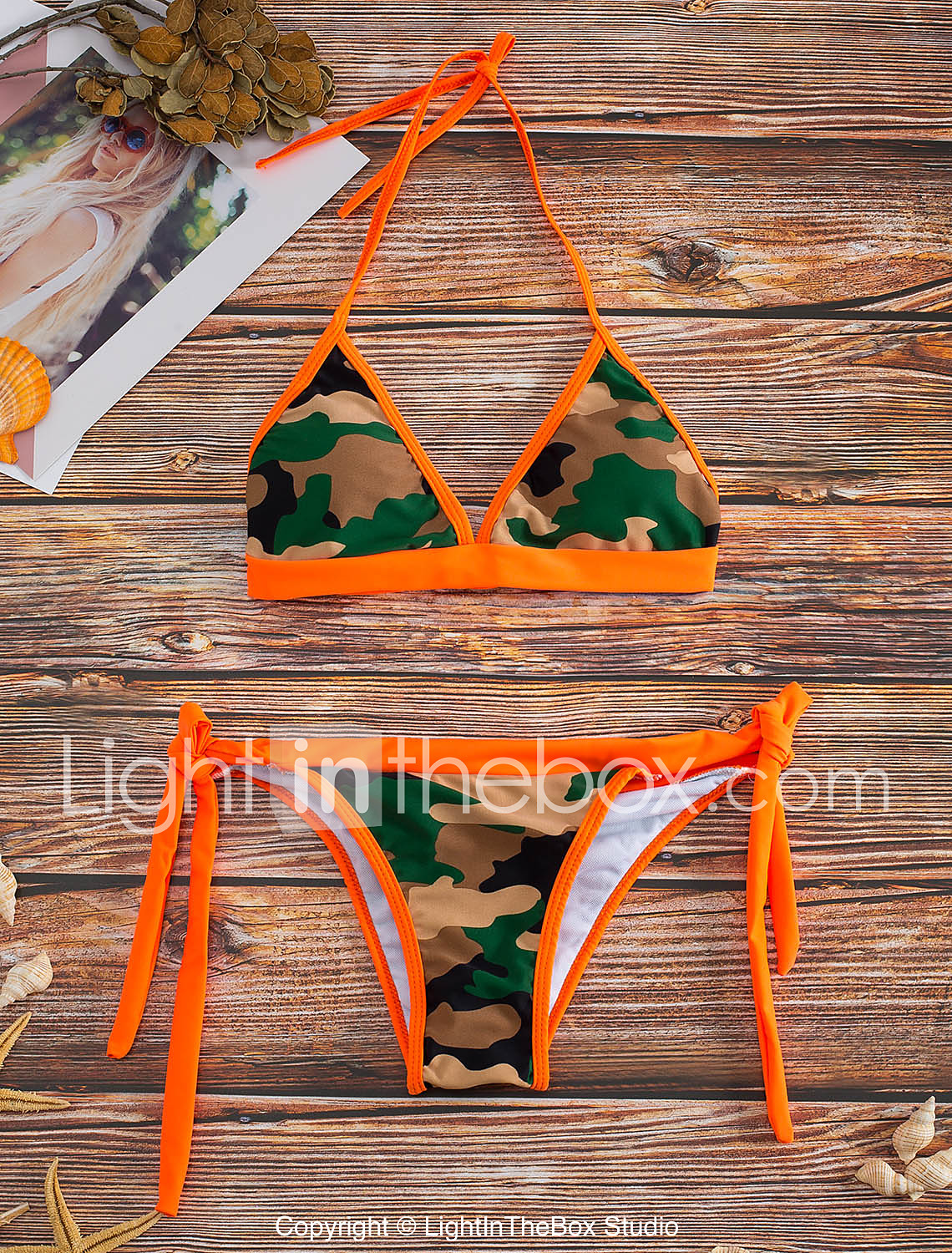 8627f7d3c93 Women s Floral Halter Neck Orange Pink Bikini Swimwear - Camo   Camouflage  Print M L XL Orange