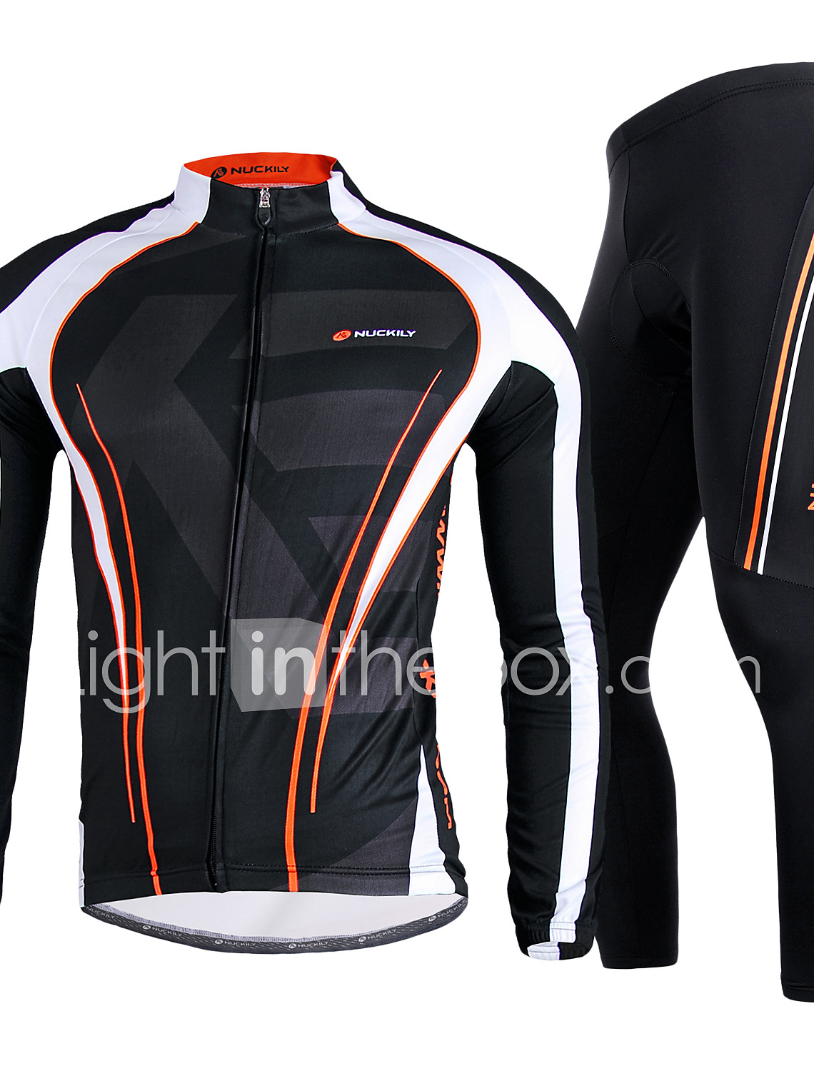 Nuckily Men s Long Sleeve Cycling Jersey with Tights - Black Bike Clothing  Suit 62076b73a
