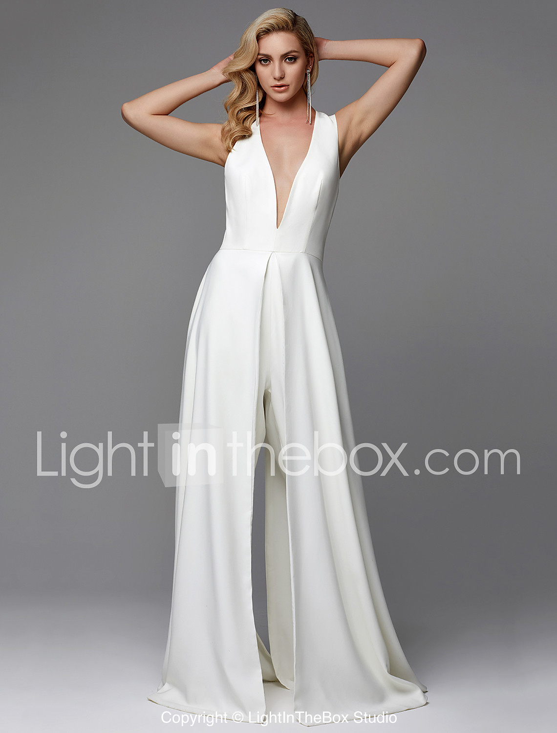 ab1ee2499898 Meghan Markle Inspired Jumpsuits V Neck Floor Length Chiffon  Made-To-Measure Wedding Dresses with Split Front by LAN TING BRIDE®    Sparkle   Shine  07017129